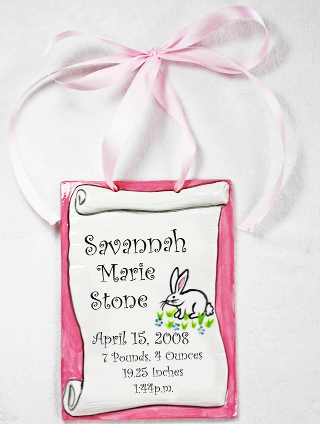Baby Stats Birth Information Ceramic Tile