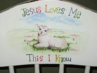 High Chair Lamb Jesus Loves Me