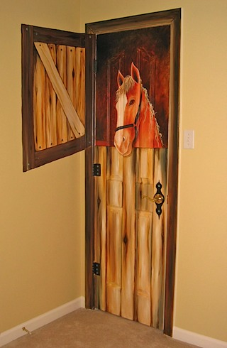 Horse Mural on Closet Door