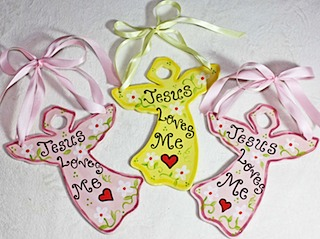 Jesus Loves Me Pottery Angels by Amy Stone