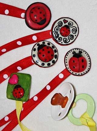 Ladybug Baby Pacifier Clip