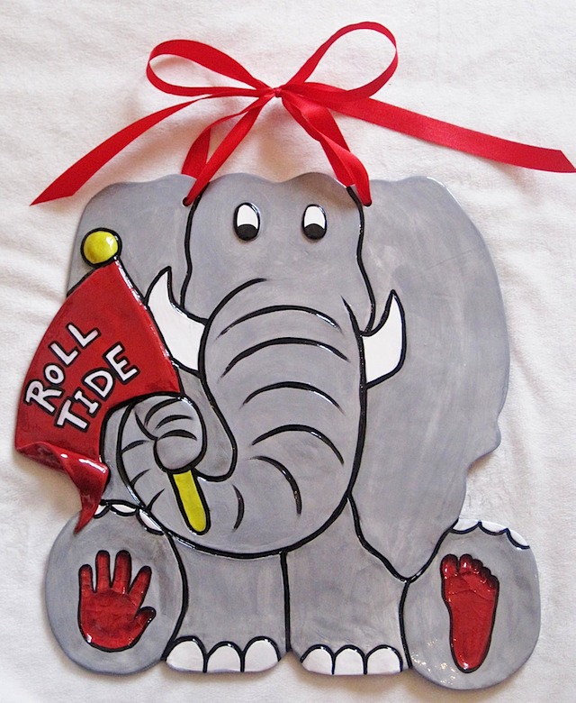 Roll tide elephant hand foot impression